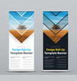design of roll-up banner with arrows and place vector image vector image