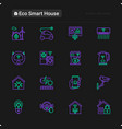 eco smart house thin line icons set vector image vector image