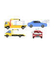 evacuator tow track and damaged cars set car vector image vector image
