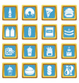 fast food icons set sapphirine square vector image