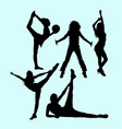 female pilates sport exercise healthy silhouette vector image vector image