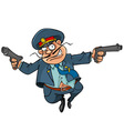 funny cartoon policeman with guns running vector image vector image