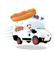 funny hot dog van driven by a friendly man vector image