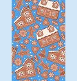 gingerbread seamless pattern on a blue background vector image