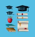 graduation celebration set icons vector image