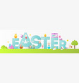 happy easter greeting banner vector image vector image