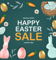 happy easter sale poster template with 3d vector image