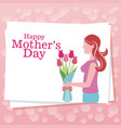 happy mothers day woman flowers dots background vector image vector image