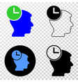 head clock eps icon with contour version vector image vector image
