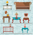 Icons Set Retro interior with a gramophone tables vector image