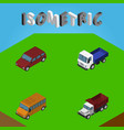 isometric car set of freight lorry car and other vector image vector image