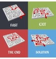 Labyrinth puzzles with solutions vector image vector image