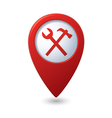 Map pointer with tools icon vector image vector image
