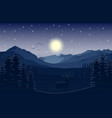 mountain landscape with deer and forest at night vector image vector image