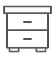 nightstand line icon furniture and home bedside vector image