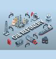 oil refinery isometric flowchart vector image vector image