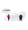 overweight couple man woman using mobile online vector image vector image