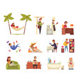 people reading books set vector image vector image