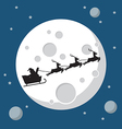 santa claus and his reindeer sleigh in silhouette vector image vector image
