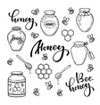 set black and white honey bee jar doodle line vector image