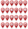 Set of 24 pointers sea and beach red vector image vector image