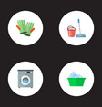 set of cleaning icons flat style symbols with vector image