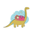 sleeping girl and dinosaur good night sweet vector image vector image