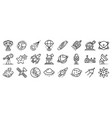 space research technology icons set outline style vector image vector image