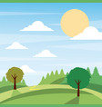 sunny nature landscape with trees and meadow cloud vector image