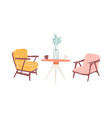 table and armchairs hand drawn vector image