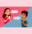 teen couple exchanging love messages cartoon vector image