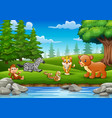 the animals are enjoying nature by the river vector image vector image