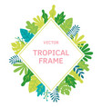 tropical leaves and plants rhombus frame vector image vector image