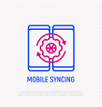 two mobile devices are syncing thin line icon vector image vector image