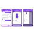 ui kit mobile app page profile and sidebar vector image