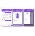 ui kit of mobile app page of profile and sidebar vector image vector image