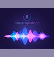 voice assistant sound wave microphone voice vector image vector image