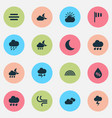 weather icons set collection of douche night vector image vector image