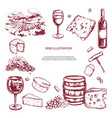 wine set hand drawn elements including vector image vector image