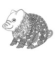 zentangle with pig zen tangle or doodle piglet vector image