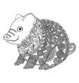 zentangle with pig zen tangle or doodle piglet vector image vector image