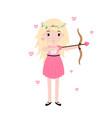 valentine day blonde cupid girl with bow and love vector image