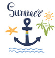 Summer Anchor Palms and Lettering Isolated vector image