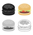 burger icon in cartoon style for web vector image