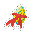 easter egg stars ribbon - cut line vector image