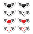 Heart with wings icons set vector image