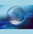 planet earth made of glass in the ocean vector image