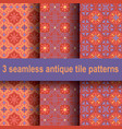 3 antique tile patterns vector image