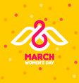 8 march womens day greeting card with white bird vector image vector image