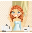 Beautiful brunette girl puts eye cream from a vector image vector image